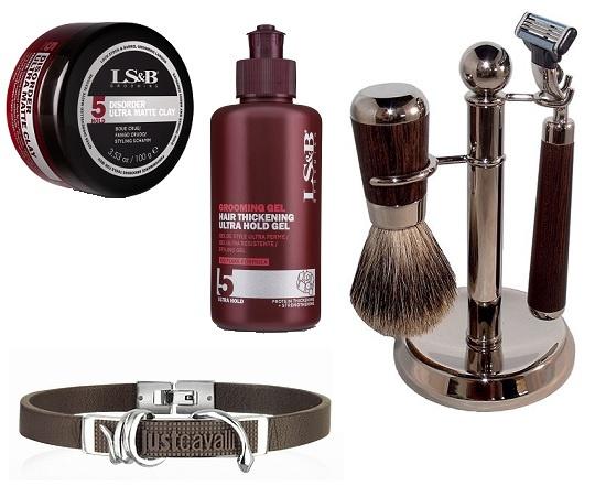 Груминг гель с эффектом утолщения волос и Матовая мастика для волос Lock Stock & Barrel (ПЕРСОНА by Sim Sensitive), Браслет Just Cavalli, Набор для бритья  S.Quire