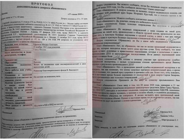 Протокол допроса, на котором Михаил Ефремов признает вину: полный текст