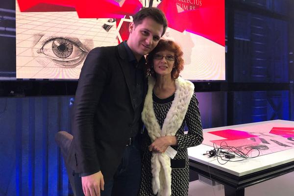 После эфира: певец Николай Рябуха, присутствовавший на записи программы, и Ольга Зарубина